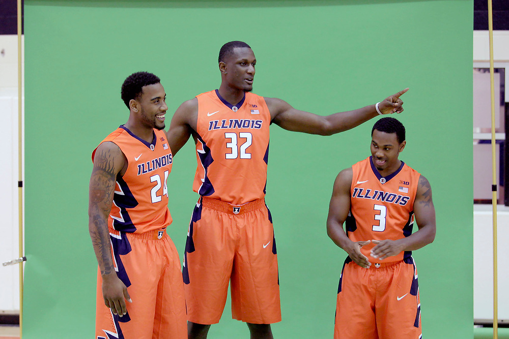Seniors Rayvonte Rice (24), Nnanna Egwu (32) and Ahmad Starks (3) wait to have their picture taken during Illinois Basketball Media Day at the Richard T. Ubben Basketball Complex Thursday, Oct. 9, 2014, on the University of Illinois campus in Champaign, Ill. (Lee News Service/ Stephen Haas)
