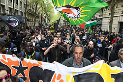 © Licensed to London News Pictures. 16/04/2017. Paris, France. Antifascist protesters opposed to a meeting by French far-right party , Front National , hold a demonstration and march through the North East of Paris . Photo credit: Joel Goodman/LNP