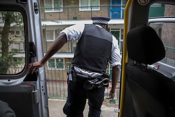 FILE IMAGE © Licensed to London News Pictures. 25/05/2018. London, UK. A police constable leaps from a van as officers spot a man they want to question during a gang patrol in Islington Photo credit: Peter Macdiarmid/LNP