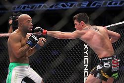 October 1, 2011; Washington D.C.; USA; UFC Bantamweight Champion Dominick Cruz (black trunks) and Demetrious Johnson (white trunks) during their bout at UFC on Versus 6 at the Verizon Center.  Cruz won via unanimous decision..