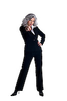 Businesswoman in her fifties pointing finger at camera.