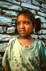 NEPAL POKHARA APR95 - A Nepalese village girl poses for a photo. <br /> <br /> jre/Photo by Jiri Rezac<br /> <br /> &copy; Jiri Rezac 1995<br /> <br /> Tel: +44 (0) 7050 110 417<br /> Email: info@jirirezac.com<br /> Web: www.jirirezac.com