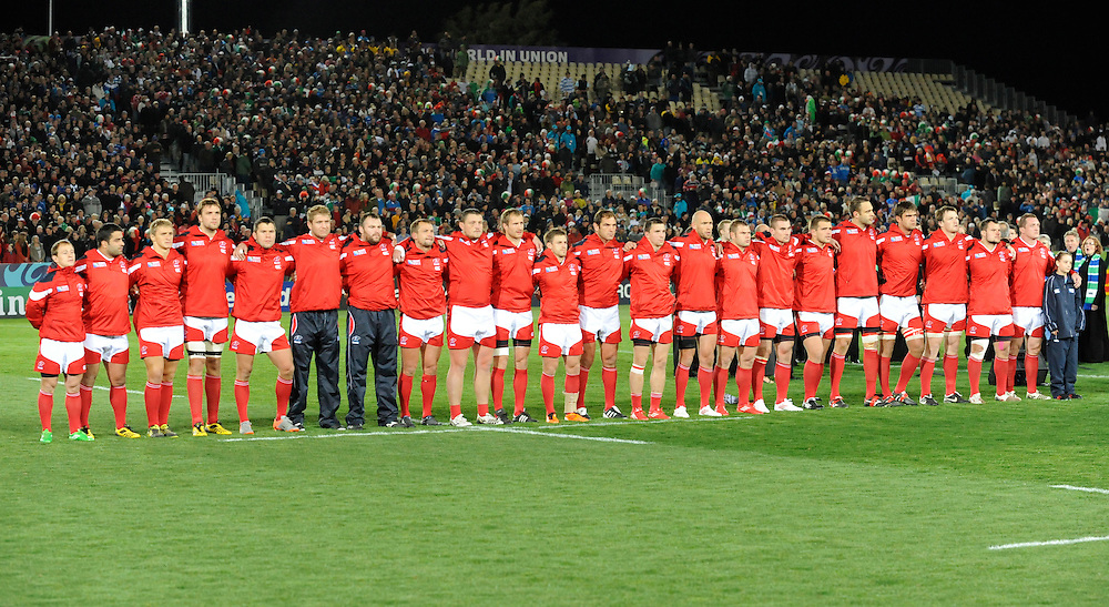 Russia lines up for their national anthem before playing Italy in the Rugby World Cup pool match at Trafalgar Park, Nelson, New Zealand, Tuesday, September 20, 2011. Credit:SNPA / Ross Setford