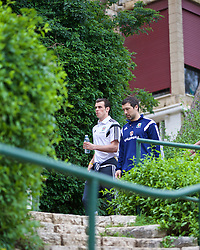HAIFA, ISRAEL - Saturday, March 28, 2015: Wales' Gareth Bale with head of fitness and science Ryland Morgans on a team walk ahead of the UEFA Euro 2016 qualifying Group B match against Israel. (Pic by David Rawcliffe/Propaganda)
