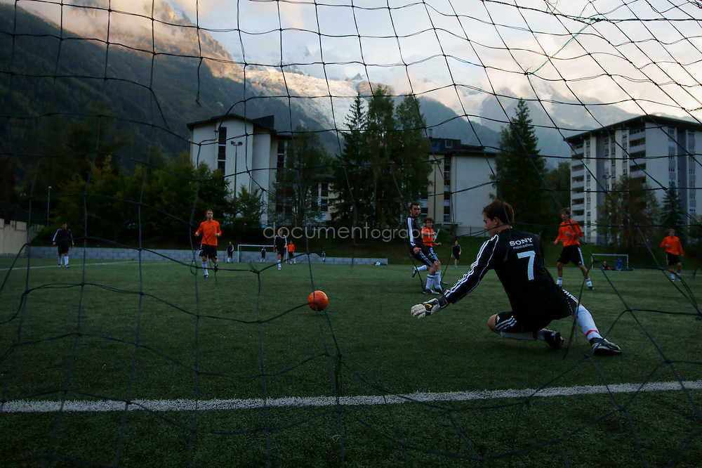 SONY DSC.Training match between Sony Benelux (Holland) and Sony Playstation (England) in Chamonix on aclimitise day of the Sony Football Twilight event.