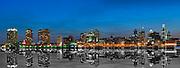 Philadelphia, PA, Sunset, Skyline, Silhouette, Penn's Landing, Delaware River Reflections, Panorama Phila, Philly, PA