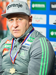 Goran Janus, coach during press conference of Slovenian Ski jumping team after World Cup competitions in Vikersund, on February 16, 2016 in Maximarket, Ljubljana, Slovenia. Photo by Vid Ponikvar / Sportida
