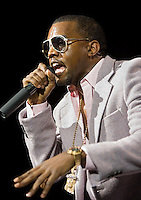 Kanye West performs at Madison Square Garden early in his career in 2005.