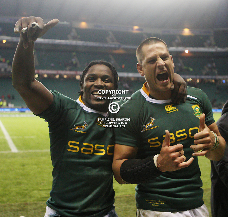 LONDON, ENGLAND - NOVEMBER 27, Lwazi Mvovo and Pierre Spies after the End of Year tour match between England and South Africa at Twickenham Stadium on November 27, 2010 in London, England<br /> Photo by Steve Haag / Gallo Images