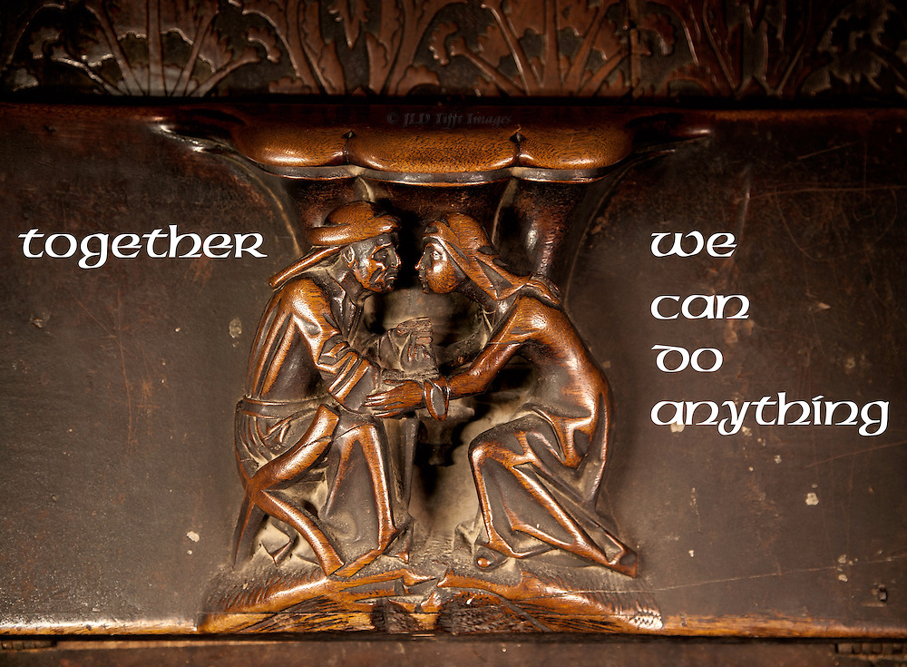 """Couple on a misericord in Toledo Cathedral, Spain, designed as a fridge magnet: """"together we can do anything"""""""