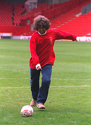 "LIVERPOOL, ENGLAND - 1996: Peter ""Cammy"" Cammell of band Cast on the pitch at Anfield, home of Liverpool FC. (Pic by David Rawcliffe/Propaganda)"
