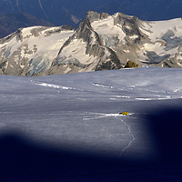 A climbing camp on a glacier in the British Columbia Coast Range in the evening.