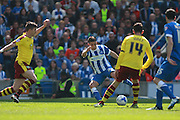 Brighton striker Anthony Knockaert strikes to make it 2-1 during the Sky Bet Championship match between Brighton and Hove Albion and Burnley at the American Express Community Stadium, Brighton and Hove, England on 2 April 2016. Photo by Bennett Dean.