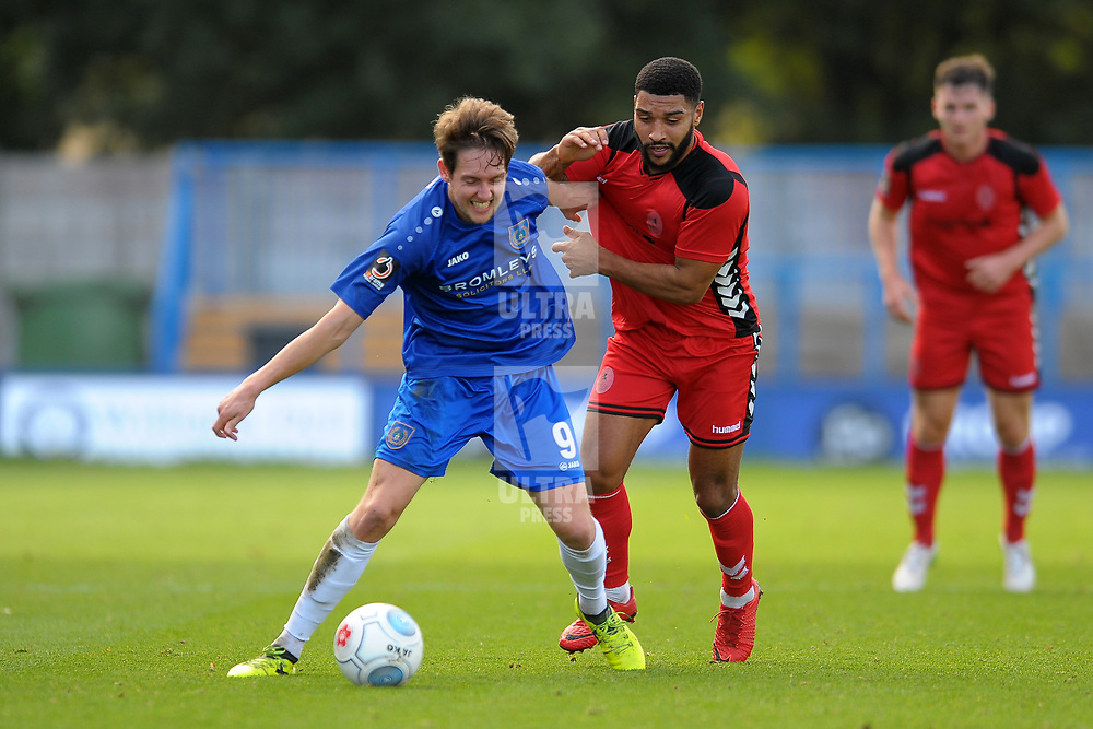 TELFORD COPYRIGHT MIKE SHERIDAN 20/10/2018 - Ryan Brooke of Curzon (formerly of AFC Telford) and Ellis Deeney of AFC Telford during the Vanarama Conference North fixture between Curzon Ashton and AFC Telford United at the Tameside Stadium.