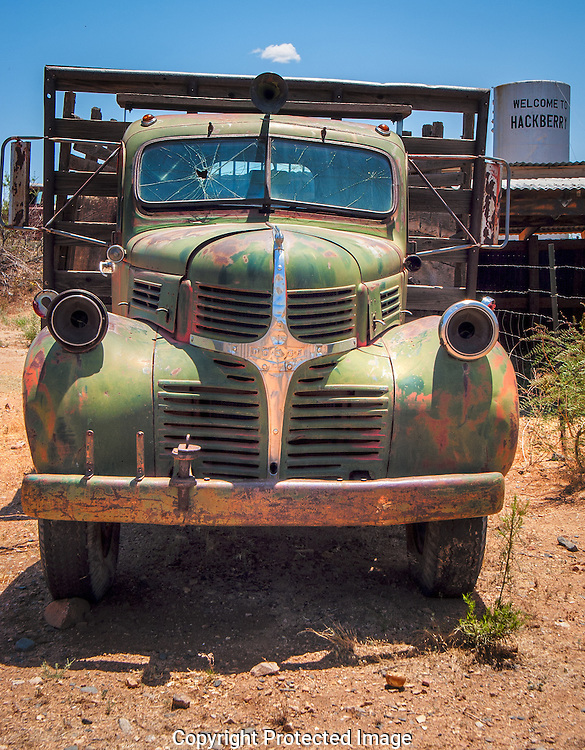 Classic 1946 Dodge flatbed truck along Rt 66 in Hackberry, Arizona