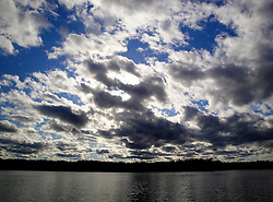 Big clouds over Spider Lake in northern Wisconsin.