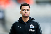 Jacob Murphy (#7) of Newcastle United arrives ahead of the Premier League match between Newcastle United and Swansea City at St. James's Park, Newcastle, England on 13 January 2018. Photo by Craig Doyle.