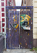 Mardi Gras gate between 1517 and 1519 Dumaine Street in the Treme neighborhood of New Orleans