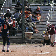 Caravel Academy Outfielder Grace Walker (2) makes contact with ball during a varsity scheduled game between Caravel Academy and The Delmar Wildcats Saturday, April 4, 2015, at Caravel Athletic Field in Bear Delaware.