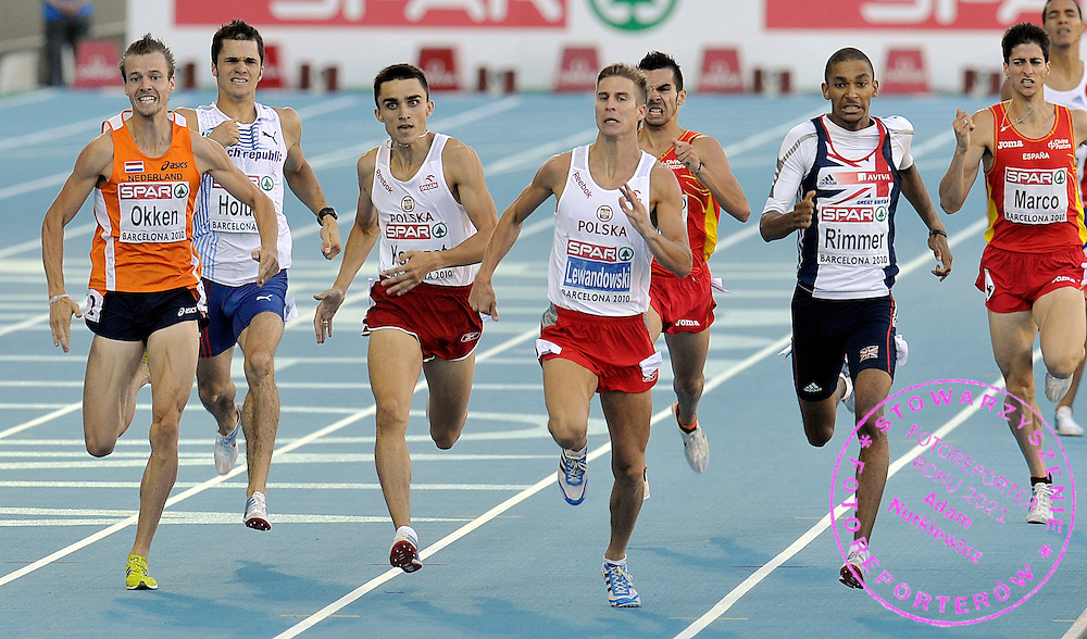(L) ADAM KSZCZOT & (R) MARCIN LEWANDOWSKI (BOTH POLAND) COMPETES IN THE MEN'S 800 METERS FINAL DURING THE 2010 EUROPEAN ATHLETICS CHAMPIONSHIPS AT OLYMPIC STADIUM IN BARCELONA, SPAIN...SPAIN , BARCELONA , JULY 31, 2010..( PHOTO BY ADAM NURKIEWICZ / MEDIASPORT )..PICTURE ALSO AVAIBLE IN RAW OR TIFF FORMAT ON SPECIAL REQUEST.