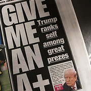 "New York Pos cover headlines about  President Trump latest tweet ""Give Me An A+"" "" Trump ranks self among great prezes"""