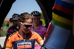 Karol-Ann Canuel makes her way to sign on for Stage 9 of the Giro Rosa - a 122.3 km road race, between Centola fraz. Palinuro and Polla on July 8, 2017, in Salerno, Italy. (Photo by Sean Robinson/Velofocus.com)