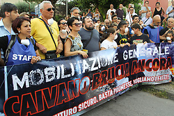 July 31, 2018 - Caivano, Campania/Napoli, Italy - The citizens of Caivano, in the province of Naples, demonstrate against the spread of the phenomenon of toxic bonfires in the territories of the ''Terra dei Fuochi''.In photo a moment of protest (Credit Image: © Salvatore Esposito/Pacific Press via ZUMA Wire)