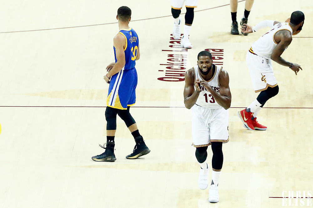 09 June 2017: Cleveland Cavaliers center Tristan Thompson (13) reacts next to Golden State Warriors guard Stephen Curry (30) during the Cleveland Cavaliers 137-11 victory over the Golden State Warriors, in game 4 of the 2017 NBA Finals, at  the Quicken Loans Arena, Cleveland, Ohio, USA.
