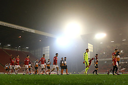 Barnsley and Wolves players walk out under the floodlights - Mandatory by-line: Matt McNulty/JMP - 31/01/2017 - FOOTBALL - Oakwell Stadium - Barnsley, England - Barnsley v Wolverhampton Wanderers - Sky Bet Championship