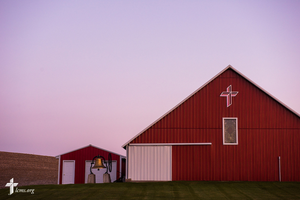 The sun sets over the sanctuary and mission museum on Wednesday, April 22, 2015, at Mission Central in Mapleton, Iowa. LCMS Communications/Erik M. Lunsford