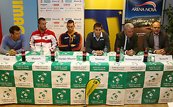 04.02.2012, Arena Nova, Wr. Neustadt, AUT, Davis Cup, Oesterreich vs Russland, Pressekonferenz, im Bild Alexander Peya,  AUT , Oliver Marsch, AUT, Andreas Haider-Maurer, AUT, Mag. (FH) Clemens Trimmel, ÖTV- Sportdirektor und Davis Cup- Kapitän , Klaus Schneeberger, Peter Teuschl, ÖTV- Generalsekretär  // Marsch, AUT, Andreas Haider-Maurer, AUT, Mag. (FH) Clemens Trimmel, ÖTV- Sportdirektor und Davis Cup- Kapitän , Klaus Schneeberger, Peter Teuschl, ÖTV- Generalsekretär during the press conference Davis Cup Austria vs Russia at the Match at the Arena Nova, Vienna Neustadt, Austria 2012/02/04 . EXPA Pictures © 2012, PhotoCredit: EXPA/ Stephan Woldron