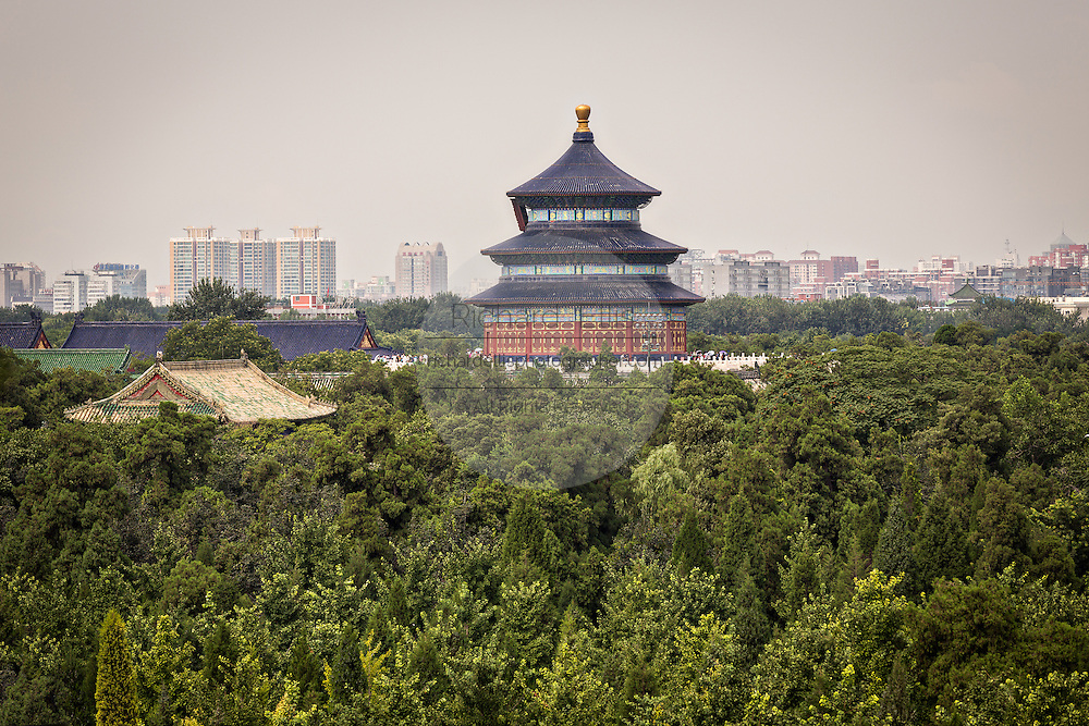 Aerial view of the Hall of Prayer for Good Harvests known as the Temple of Heaven during summer in Beijing, China