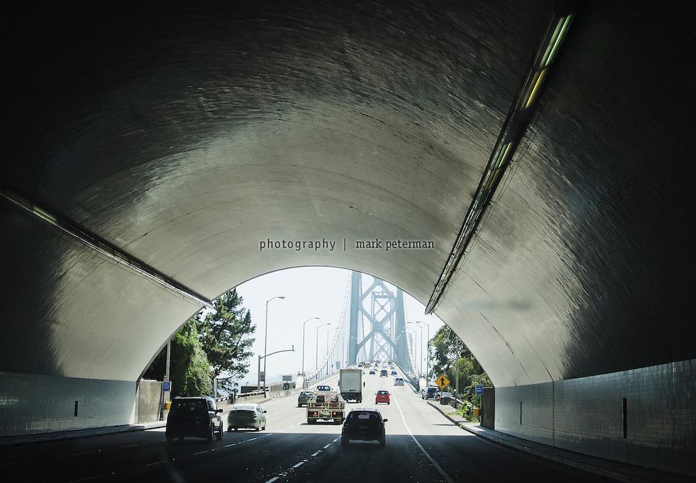 Driving across the Bay Bridge into San Francisco, Ca.