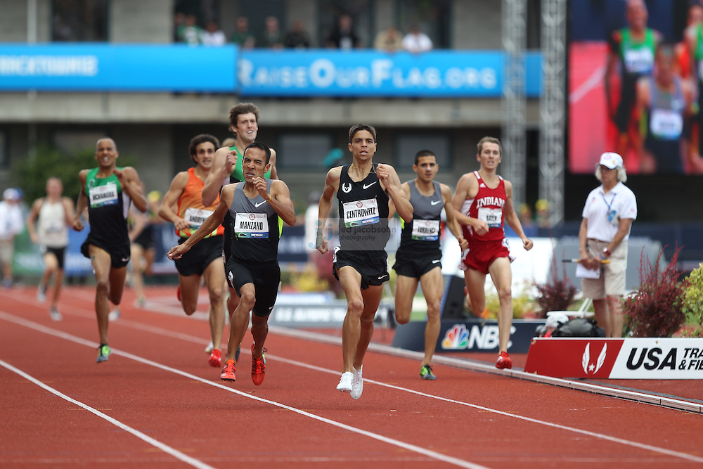 Leonel Manzano runs to victory in the finals of the 1500m during day 10 of the U.S. Olympic Trials for Track & Field at Hayward Field in Eugene, Oregon, USA 1 Jul 2012..(Jed Jacobsohn/for The New York Times)....