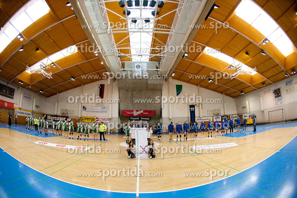 Teams during handball match between ZRK Krka and RK Krim Mercator in Final of Slovenian Women Cup, on April 3, 2011, in Sports Arena Zagorje, Slovenia. (Photo by Vid Ponikvar / Sportida)