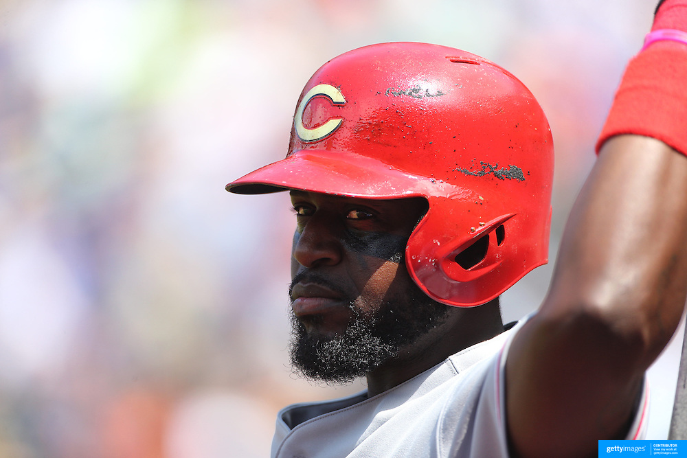 Brandon Phillips, Cincinnati Reds, prepring to bat during the New York Mets Vs Cincinnati Reds MLB regular season baseball game at Citi Field, Queens, New York. USA. 28th June 2015. Photo Tim Clayton