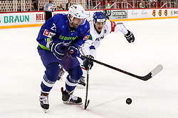 Anze Ropret of Slovenia during Ice Hockey match between National Teams of Italy and Slovenia in Round #5 of 2018 IIHF Ice Hockey World Championship Division I Group A, on April 28, 2018 in Arena Laszla Pappa, Budapest, Hungary. Photo by David Balogh / Sportida