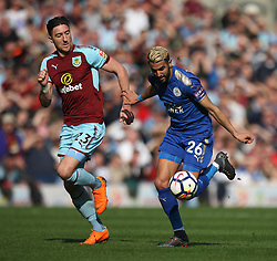 Stephen Ward of Burnley (L) and Riyad Mahrez of Leicester City in action - Mandatory by-line: Jack Phillips/JMP - 14/04/2018 - FOOTBALL - Turf Moor - Burnley, England - Burnley v Leicester City - English Premier League