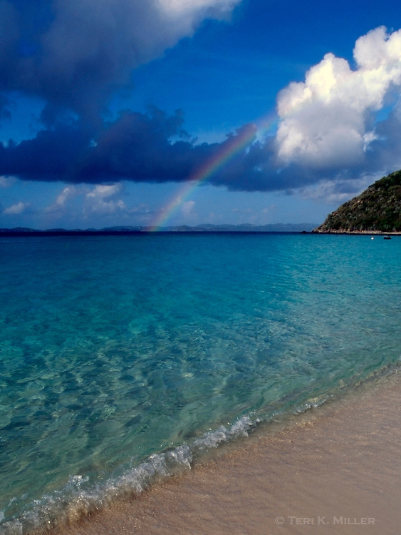 A rainbow over White Bay at the Sandcastle, Jost Van Dyke, British Virgin Islands