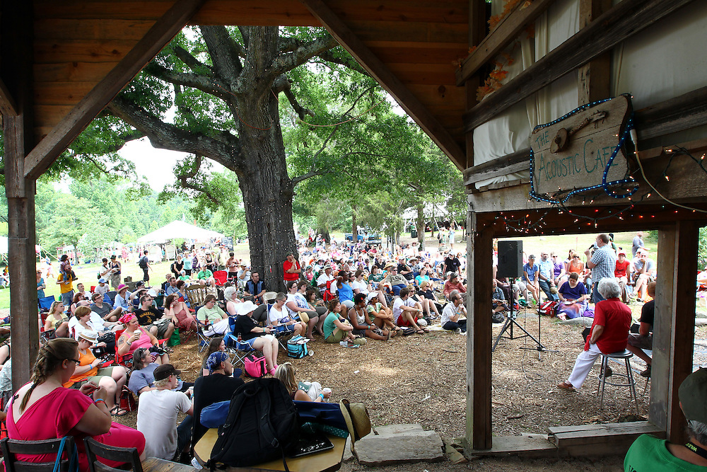 A crowd gathers to listen to a panel discussion on sexuality and justice at the Wild Goose Festival at Shakori Hills in North Carolina June 25, 2011.  (Photo by Courtney Perry)