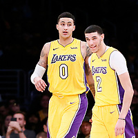 09 January 2018: Los Angeles Lakers forward Kyle Kuzma (0) is seen next to Los Angeles Lakers guard Lonzo Ball (2) during the LA Lakers 99-86 victory over the Sacramento Kings, at the Staples Center, Los Angeles, California, USA.