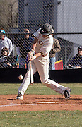 Coconino's Marcus Romo, senior, hits a long fly ball to right field for single to give Coconino High runners on the corners in the first inning against Bradshaw Mountain High, Thursday, March 24, 2016. Later that inning, those runners would score to give Coconino a 2-0 lead into second inning. (Photo by David Carballido-Jeans)