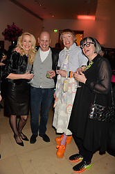 Left to right, JERRY HALL, ARMAND LEROI, GRAYSON PERRY and PHILIPPA PERRY at a private view of photographs by David Bailey entitled 'Bailey's Stardust' at the National Portrait Gallery, St.Martin's Place, London on 3rd February 2014.