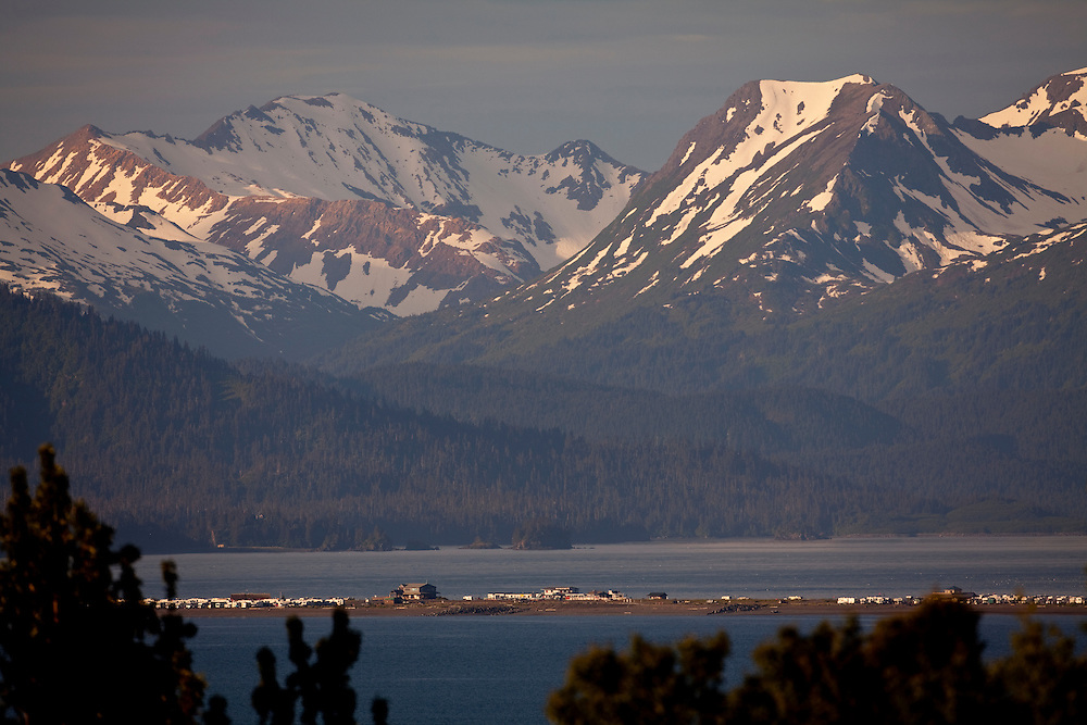 "Alaska2010.-Alaskan mountains rise above Kachemak Bay near with the Homer ""Spit"" in the foreground."