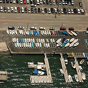Aerial image of parking lot and boat storage at Wrightsville Beach, NC