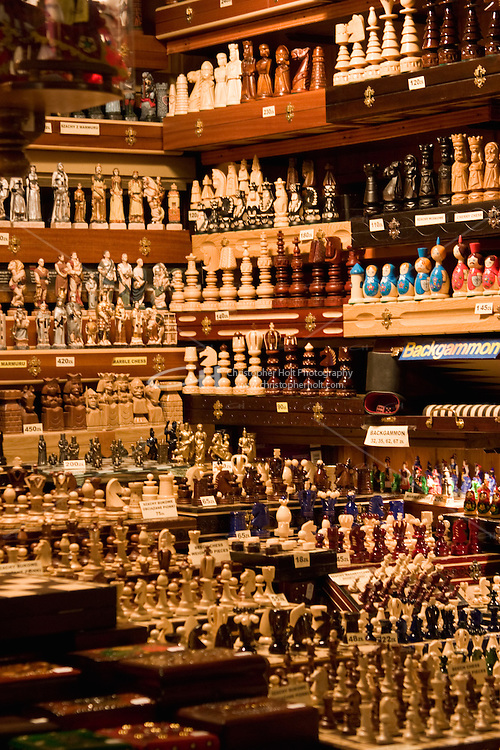 A wide variety of chess pieces on sale in the Sukiennice in Krakow Poland