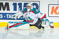 KELOWNA, CANADA - FEBRUARY 12:  James Porter #1 of the Kelowna Rockets stretches during warm up against the Victoria Royals on February 12, 2018 at Prospera Place in Kelowna, British Columbia, Canada.  (Photo by Marissa Baecker/Shoot the Breeze)  *** Local Caption ***