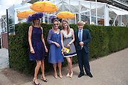 MRS. GUY SANGSTER; MRS. JAMES ALUN-JONES; ELLAMAY SANGSTER; HUBIE SANGSTER, Glorious Goodwood. Sussex. 28 July 2010, -DO NOT ARCHIVE-© Copyright Photograph by Dafydd Jones. 248 Clapham Rd. London SW9 0PZ. Tel 0207 820 0771. www.dafjones.com.
