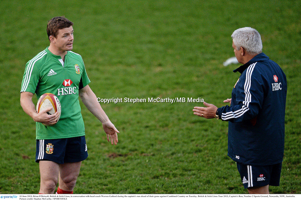 10 June 2013; Brian O'Driscoll, British & Irish Lions, in conversation with head coach Warren Gatland during the captain's run ahead of their game against Combined Country on Tuesday. British & Irish Lions Tour 2013, Captain's Run, Number 2 Sports Ground, Newcastle, NSW, Australia. Picture credit: Stephen McCarthy / SPORTSFILE
