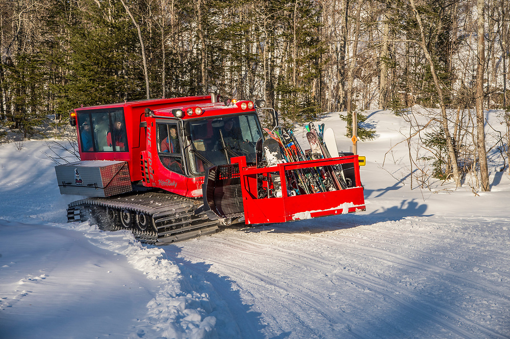 Cat skiing at Voodoo Mountain part of Mount Bohemia ski area in Michigan.